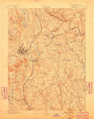 Danbury Connecticut Historical topographic map, 1:62500 scale, 15 X 15 Minute, Year 1892