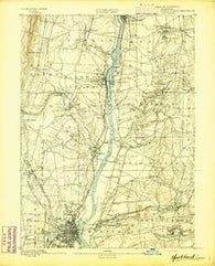 Hartford Connecticut Historical topographic map, 1:62500 scale, 15 X 15 Minute, Year 1892