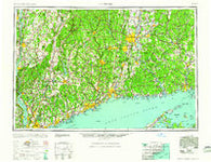 Hartford Connecticut Historical topographic map, 1:250000 scale, 1 X 2 Degree, Year 1961