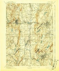 Meriden Connecticut Historical topographic map, 1:62500 scale, 15 X 15 Minute, Year 1893