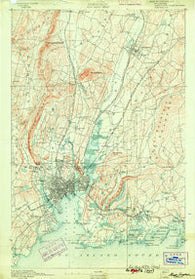 New Haven Connecticut Historical topographic map, 1:62500 scale, 15 X 15 Minute, Year 1892