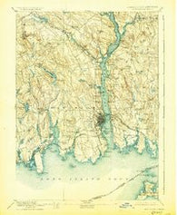 New London Connecticut Historical topographic map, 1:62500 scale, 15 X 15 Minute, Year 1893