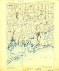 Stonington Connecticut Historical topographic map, 1:62500 scale, 15 X 15 Minute, Year 1889