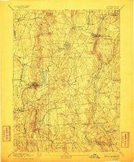 Tolland Connecticut Historical topographic map, 1:62500 scale, 15 X 15 Minute, Year 1892