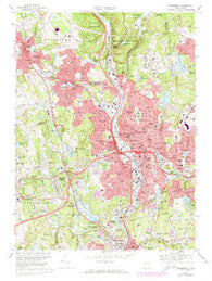 Waterbury Connecticut Historical topographic map, 1:24000 scale, 7.5 X 7.5 Minute, Year 1968