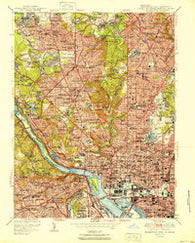 Washington West District of Columbia Historical topographic map, 1:24000 scale, 7.5 X 7.5 Minute, Year 1951