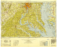 Washington District of Columbia Historical topographic map, 1:250000 scale, 1 X 2 Degree, Year 1948