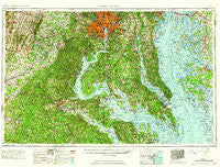 Washington District of Columbia Historical topographic map, 1:250000 scale, 1 X 2 Degree, Year 1961
