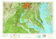 Washington District of Columbia Historical topographic map, 1:250000 scale, 1 X 2 Degree, Year 1957
