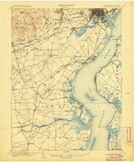 Wilmington Delaware Historical topographic map, 1:62500 scale, 15 X 15 Minute, Year 1906