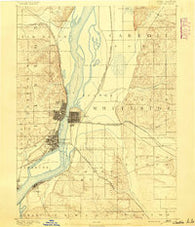 Clinton Iowa Historical topographic map, 1:62500 scale, 15 X 15 Minute, Year 1891
