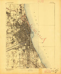 Chicago Illinois Historical topographic map, 1:62500 scale, 15 X 15 Minute, Year 1889