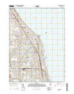 Evanston Illinois Current topographic map, 1:24000 scale, 7.5 X 7.5 Minute, Year 2015 from Illinois Map Store