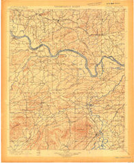 Sallisaw Oklahoma Historical topographic map, 1:125000 scale, 30 X 30 Minute, Year 1900
