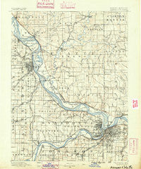 Kansas City Missouri Historical topographic map, 1:125000 scale, 30 X 30 Minute, Year 1890