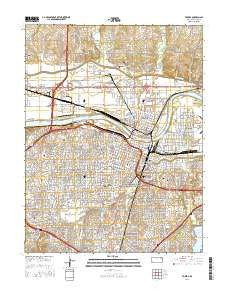 Topeka Kansas Current topographic map, 1:24000 scale, 7.5 X 7.5 Minute, Year 2016