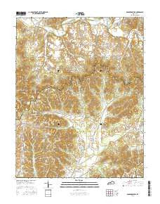 Bradfordsville Kentucky Current topographic map, 1:24000 scale, 7.5 X 7.5 Minute, Year 2016