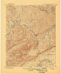 Cumberland Gap Kentucky Historical topographic map, 1:125000 scale, 30 X 30 Minute, Year 1891
