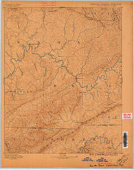 Cumberland Gap Kentucky Historical topographic map, 1:125000 scale, 30 X 30 Minute, Year 1886
