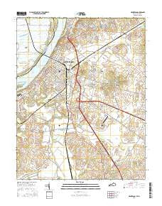 Henderson Kentucky Current topographic map, 1:24000 scale, 7.5 X 7.5 Minute, Year 2016
