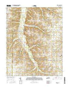 Kirksey Kentucky Current topographic map, 1:24000 scale, 7.5 X 7.5 Minute, Year 2016