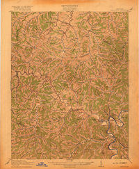Paintsville Kentucky Historical topographic map, 1:62500 scale, 15 X 15 Minute, Year 1917