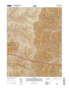 Waddy Kentucky Current topographic map, 1:24000 scale, 7.5 X 7.5 Minute, Year 2016