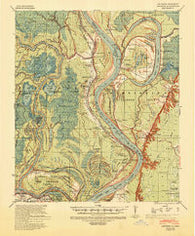 Artonish Mississippi Historical topographic map, 1:62500 scale, 15 X 15 Minute, Year 1939