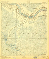 Hahnville Louisiana Historical topographic map, 1:62500 scale, 15 X 15 Minute, Year 1891