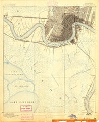 New Orleans Louisiana Historical topographic map, 1:62500 scale, 15 X 15 Minute, Year 1891