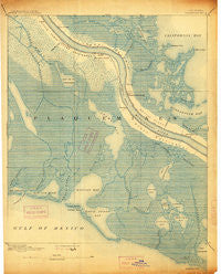 Quarantine Louisiana Historical topographic map, 1:62500 scale, 15 X 15 Minute, Year 1892