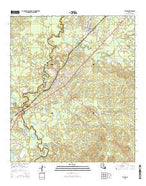 Tullos Louisiana Current topographic map, 1:24000 scale, 7.5 X 7.5 Minute, Year 2015 from Louisiana Map Store