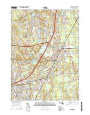 Attleboro Massachusetts Current topographic map, 1:24000 scale, 7.5 X 7.5 Minute, Year 2015 from Massachusetts Maps Store