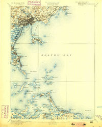 Boston Bay Massachusetts Historical topographic map, 1:62500 scale, 15 X 15 Minute, Year 1892