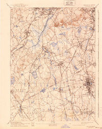 Dedham Massachusetts Historical topographic map, 1:62500 scale, 15 X 15 Minute, Year 1894