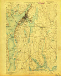 Fall River Massachusetts Historical topographic map, 1:62500 scale, 15 X 15 Minute, Year 1888