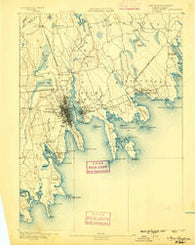New Bedford Massachusetts Historical topographic map, 1:62500 scale, 15 X 15 Minute, Year 1888