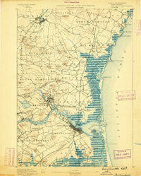 Newburyport New Hampshire Historical topographic map, 1:62500 scale, 15 X 15 Minute, Year 1890