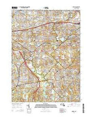Newton Massachusetts Current topographic map, 1:24000 scale, 7.5 X 7.5 Minute, Year 2015 from Massachusetts Maps Store
