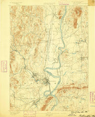 Northampton Massachusetts Historical topographic map, 1:62500 scale, 15 X 15 Minute, Year 1886
