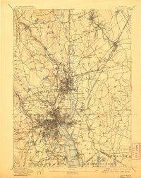 Providence Rhode Island Historical topographic map, 1:62500 scale, 15 X 15 Minute, Year 1894