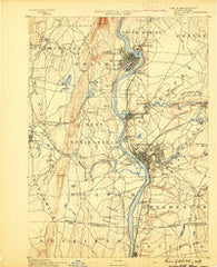 Springfield Massachusetts Historical topographic map, 1:62500 scale, 15 X 15 Minute, Year 1889