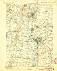 Springfield Massachusetts Historical topographic map, 1:62500 scale, 15 X 15 Minute, Year 1895