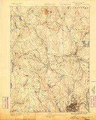 Worcester Massachusetts Historical topographic map, 1:62500 scale, 15 X 15 Minute, Year 1886