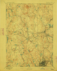Worcester Massachusetts Historical topographic map, 1:62500 scale, 15 X 15 Minute, Year 1892