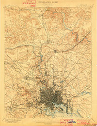 Baltimore Maryland Historical topographic map, 1:62500 scale, 15 X 15 Minute, Year 1899