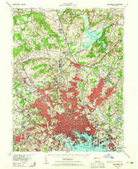 Baltimore Maryland Historical topographic map, 1:62500 scale, 15 X 15 Minute, Year 1943