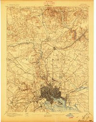 Baltimore Maryland Historical topographic map, 1:62500 scale, 15 X 15 Minute, Year 1894