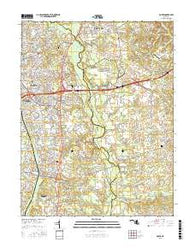 Bowie Maryland Current topographic map, 1:24000 scale, 7.5 X 7.5 Minute, Year 2016