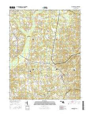 Hughesville Maryland Current topographic map, 1:24000 scale, 7.5 X 7.5 Minute, Year 2016 from Maryland Maps Store